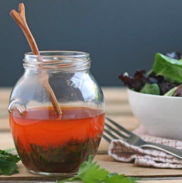 moroccan vinaigrette in a glass jar