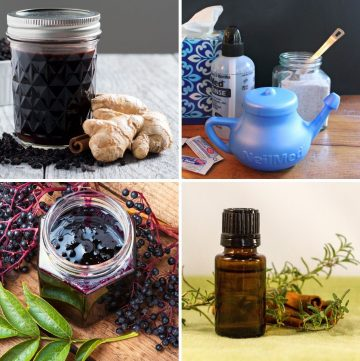 collage of remedies for natural cold and flu