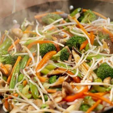 close up of rainbow stir fry