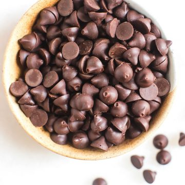 homemade chocolate chips in a ceramic bowl