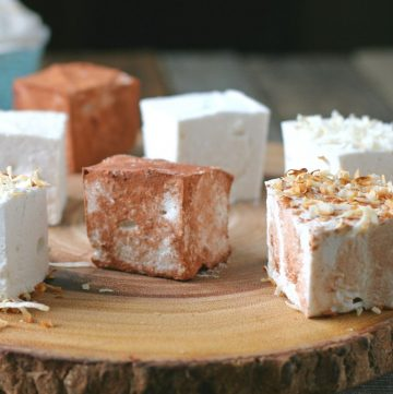 square marshmallows on top of wooden plate