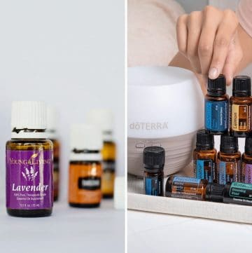 collage of Young Living oils and doTerra oils