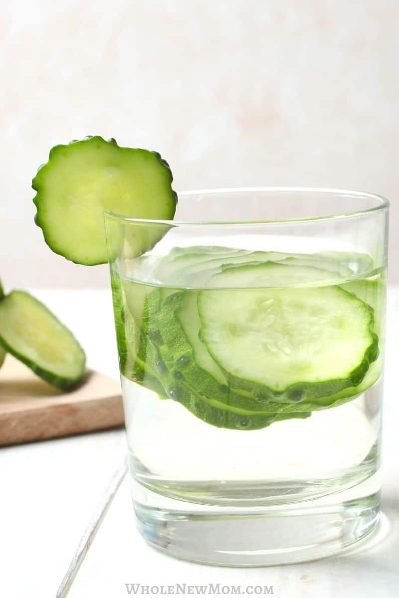 cucumber water in glass