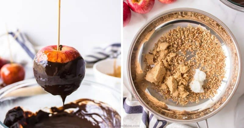 collage of dipping caramel apple in chocolate and ingredients in pan for caramel apple topping