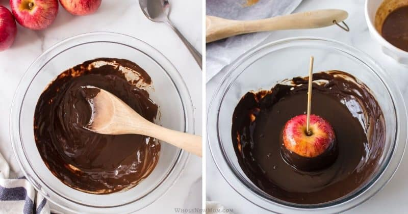 collage of making chocolate coating for caramel apples and dipping apples in coating
